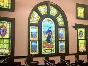 Stained Glass windows in historic church, Van Alstyne