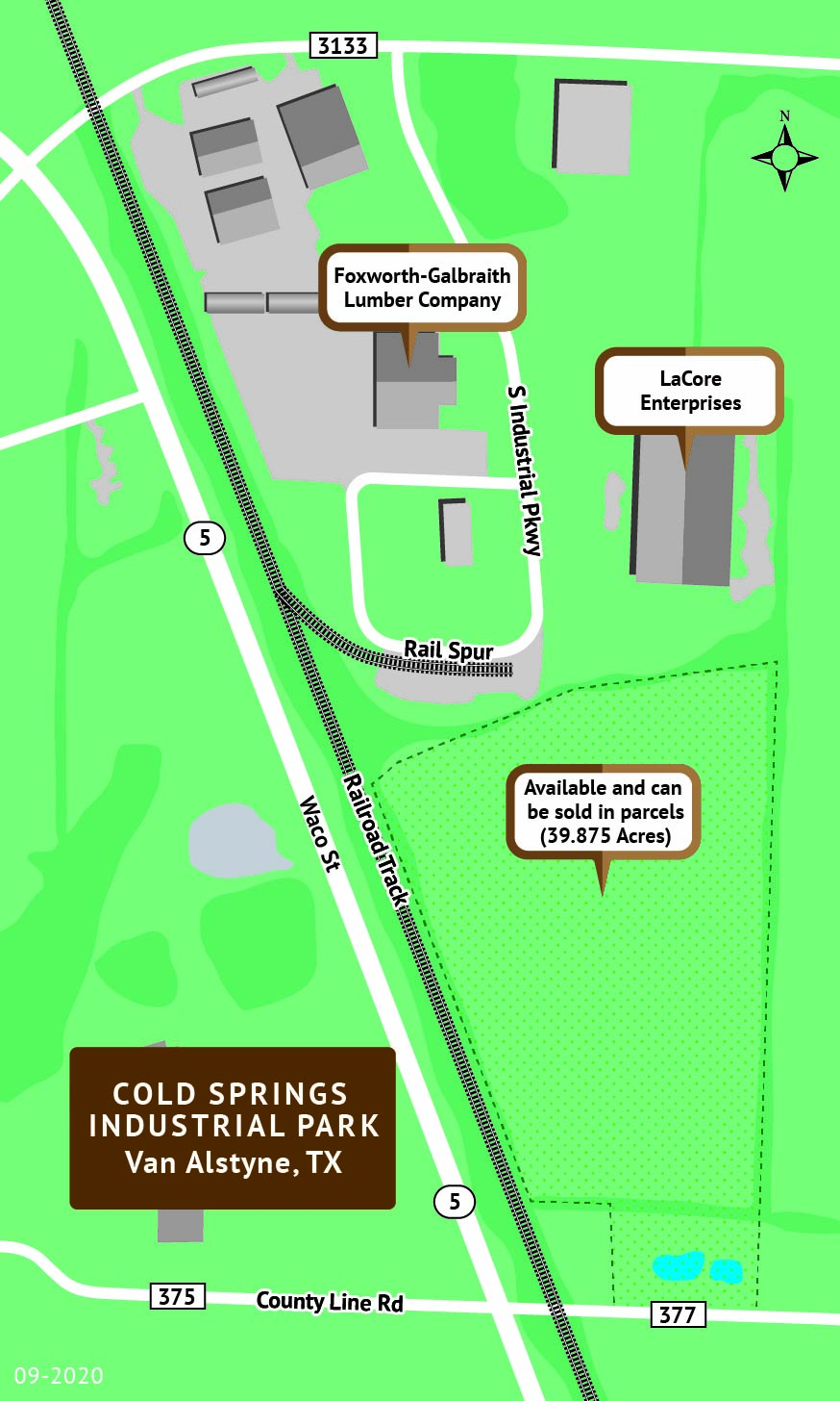 Rendering of Cold Springs Industrial Park roads, railroad tracks and buildings